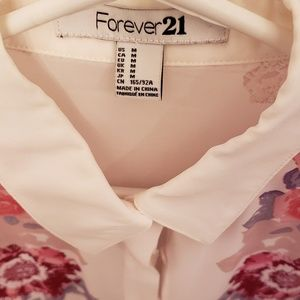 Forever 21 Tops - Forever 21 floral button up sheer blouse sz M